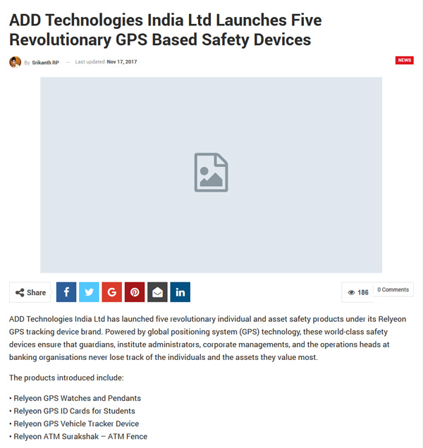 ADD Technologies India Ltd Launches Five Revolutionary GPS Based Safety Devices